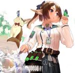 024th 1girl absurdres animal animal_ears arknights bangs belt black_bow blue_butterfly bow brown_belt brown_eyes brown_hair brown_legwear bug butterfly butterfly_on_finger commentary flower fox fox_ears green_butterfly hair_bow hand_up highres holding_hose insect long_hair long_sleeves looking_at_animal official_alternate_costume pantyhose parted_lips perfumer_(arknights) perfumer_(species_plantarum)_(arknights) ponytail red_bow scissors shirt simple_background solo striped striped_bow vial water white_background white_flower white_shirt