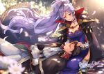 1boy 1girl absurdres artist_name black_hair breasts choker commission commissioner_upload couple cravat fire_emblem fire_emblem:_genealogy_of_the_holy_war fire_emblem:_thracia_776 fire_emblem_heroes gloves hair_ornament hand_in_hair highres jewelry lap_pillow long_hair looking_at_another md5_mismatch necklace purple_hair reinhardt_(fire_emblem) resolution_mismatch scenery skeb_commission sleeping smile source_smaller tree violet_eyes watermark wawatiku