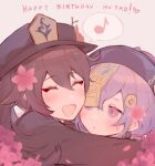 2girls ^_^ ^o^ beads birthday blush braid braided_ponytail brown_hair cake closed_eyes earrings english_text flower food genshin_impact ghost gift half-closed_eyes happy happy_birthday hat hu_tao_(genshin_impact) hug jewelry jiangshi kvlen long_sleeves multiple_girls musical_note open_mouth purple_hair qiqi_(genshin_impact) red_eyes shorts smile sweatdrop symbol-shaped_pupils talisman thigh-highs thought_bubble twintails violet_eyes wide_sleeves