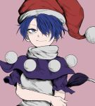 1girl bags_under_eyes bangs blue_capelet blue_eyes blue_hair capelet closed_mouth commentary_request doremy_sweet fe_(tetsu) fingernails grey_shirt hair_over_one_eye hat looking_at_viewer nightcap parted_bangs pom_pom_(clothes) purple_background red_headwear shirt short_hair simple_background smile solo tail tapir_tail touhou turtleneck upper_body