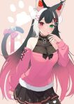 1girl animal_ears bell black_hair closed_mouth commission crescent crescent_hair_ornament dip-dyed_hair green_eyes hair_ornament hairclip highres indie_virtual_youtuber long_hair nail_polish paw_print pink_eyes pink_hair pom_pom_(clothes) pom_pom_hair_ornament qiu_yue_(vtuber) skeb_commission tail tail_ornament white_hair x_hair_ornament yudetama