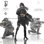 1girl 2boys ammunition_pouch android assault_rifle asukabaka2 bangs black_hair blurry blurry_background cape cyberpunk gun hair_between_eyes hat holding holding_gun holding_weapon kneeling long_hair looking_at_viewer m4_carbine mask mecha metal_gear_(series) metal_gear_solid military military_hat military_uniform multiple_boys night_vision original ponytail pouch rifle standing torn_cape torn_clothes uniform violet_eyes weapon