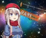 1girl 9a-91_(girls_frontline) :d bangs beret blue_eyes bow breasts character_name eyebrows_visible_through_hair girls'_frontline hair_between_eyes hair_bow hair_ornament hat highres juliet_sleeves long_hair long_sleeves looking_up medium_breasts meme open_mouth puffy_sleeves red_headwear red_scarf scarf scope sideboob sidelocks silver_hair smile solo space space_cat_(meme) star_(sky) star_(symbol) star_hair_ornament yakob_labo