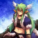 1boy bangs black_gloves black_shirt blue_cape blue_jacket brown_pants cape choker closed_mouth commentary_request crop_top emon-yu fur-trimmed_cape fur-trimmed_jacket fur_trim gloves green_hair head_wings jacket long_hair looking_at_viewer male_focus multicolored multicolored_wings multiple_wings navel open_clothes open_jacket orange_eyes orange_wings pants ragnarok_online shirt short_sleeves solo stalker_(ragnarok_online) upper_body waist_cape white_wings wings
