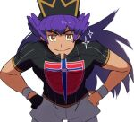1boy bangs baseball_cap bright_pupils champion_uniform closed_mouth commentary_request dark-skinned_male dark_skin eyebrows_visible_through_hair facial_hair gloves hands_on_hips hat leaning_forward leggings leon_(pokemon) long_hair looking_at_viewer male_focus morio_(poke_orio) pokemon pokemon_(game) pokemon_swsh purple_hair shield_print shirt short_shorts short_sleeves shorts simple_background single_glove smile solo sparkle sword_print white_background white_legwear white_pupils white_shorts wristband yellow_eyes