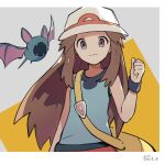 1girl bag black_wristband blue_shirt brown_eyes brown_hair bucket_hat clenched_hand closed_mouth eyelashes gen_1_pokemon hair_flaps hand_up hat highres leaf_(pokemon) long_hair looking_at_viewer messenger_bag pokemon pokemon_(creature) pokemon_(game) pokemon_frlg red_skirt shirt shoulder_bag skirt sleeveless sleeveless_shirt symbol_commentary toukashi_(2tou9) vs_seeker white_headwear wristband yellow_bag zubat
