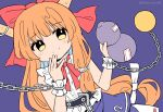 1girl bangs bow chain closed_mouth eyebrows_visible_through_hair gourd hair_bow highres holding horns ibuki_suika long_hair looking_at_viewer low-tied_long_hair metal_belt orange_hair purple_background purple_skirt ramudia_(lamyun) red_bow red_neckwear shirt simple_background skirt smile solo torn_clothes torn_sleeves touhou twitter_username very_long_hair white_shirt wrist_cuffs yellow_eyes