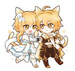 1boy 1girl :3 :d aether_(genshin_impact) animal_ears antenna_hair bangs black_gloves blonde_hair braid braided_ponytail brother_and_sister brown_gloves cat_boy cat_ears cat_girl cat_tail closed_mouth dress elbow_gloves fang flower full_body genshin_impact gloves hair_between_eyes long_hair looking_at_another lumine_(genshin_impact) open_mouth rabi_(swordofthestone) siblings simple_background smile tail twins white_background white_dress white_flower yellow_eyes