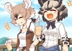 2girls 370ml african_wild_dog_(kemono_friends) african_wild_dog_print animal_ears bomber_jacket bow bowtie brown_hair camouflage camouflage_pants closed_eyes collared_shirt commentary_request cup denim denim_shorts dog_ears dog_girl extra_ears eyebrows_visible_through_hair fang fingerless_gloves fur_collar gambian_pouched_rat_(kemono_friends) gloves hair_between_eyes hair_bow jacket japari_symbol kemono_friends light_brown_hair long_sleeves mouse_ears mouse_tail multicolored_hair multiple_girls open_mouth pants print_sleeves shirt short_hair short_shorts short_sleeves shorts sleeveless t-shirt tail tied_hair white_fur white_gloves white_hair