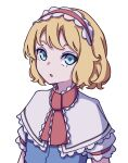 1girl absurdres alice_margatroid ascot blonde_hair blue_dress blue_eyes capelet dress flat_chest frilled_ascot frills hairband highres kame_(kamepan44231) lolita_hairband puffy_short_sleeves puffy_sleeves red_hairband red_neckwear short_hair short_sleeves simple_background touhou white_background white_capelet