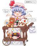 1girl animal_ears arms_up arrow_(symbol) bangs bat_wings bebeneko bloomers blue_hair blush bow brooch card cart cat_ears cat_tail child_drawing closed_eyes clothes_hanger commentary_request commission cravat eyebrows_visible_through_hair facing_viewer fang goutokuji_mike hair_bow hair_tubes hakurei_reimu hat hat_ribbon heart jewelry kokeshi mob_cap open_mouth orange_eyes outstretched_arms panties pink_headwear pink_shirt pixiv_request puffy_short_sleeves puffy_sleeves red_neckwear remilia_scarlet ribbon shadow shirt short_hair short_sleeves sign simple_background solo spread_arms star_(symbol) stuffed_animal stuffed_bunny stuffed_toy tail teddy_bear touhou translation_request underwear vase white_background white_panties wings yukkuri_shiteitte_ne