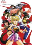 1990s_(style) 2boys 4girls armor bangs beard black_hair blonde_hair brown_hair clenched_hand facial_hair grin hand_on_own_thigh headpiece holding holding_sword holding_weapon logo long_hair looking_at_viewer majuu_senshi_luna_varga multicolored_hair multiple_boys multiple_girls official_art open_mouth parted_lips profile retro_artstyle short_hair smile sword tail two-tone_hair weapon