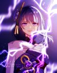 1girl artist_name bangs blurry blurry_background breasts closed_mouth commentary electricity english_commentary eyeliner flower genshin_impact hair_ornament highres japanese_clothes kimono lightning looking_at_viewer makeup moonsinrivers purple_flower purple_hair raiden_(genshin_impact) ribbon sash solo tassel violet_eyes vision_(genshin_impact)