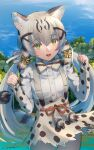 1girl :d absurdres animal_ear_fluff animal_ears bangs blue_sky bow bowtie cat_ears cat_girl cat_tail commentary cowboy_shot day eyebrows_visible_through_hair fang geoffroy's_cat_(kemono_friends) green_eyes grey_hair hair_between_eyes hair_bow highres kemono_friends long_hair long_sleeves looking_at_viewer low_twintails multicolored_hair nature open_mouth outdoors print_neckwear print_skirt print_sleeves shirt signature skirt sky sleeves_past_wrists slit_pupils smile solo striped_tail suspender_skirt suspenders tail thigh_gap twintails very_long_hair welt_(kinsei_koutenkyoku) white_shirt