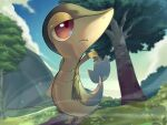 animal_focus blue_sky bush closed_mouth clouds commentary day expressionless fence full_body gen_5_pokemon gradient_sky grass highres looking_to_the_side no_humans outdoors outline pokemon pokemon_(creature) red_eyes rio_(user_nvgr5434) sky snivy solo standing tree