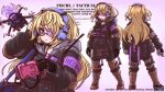 1girl alternate_costume backpack bag bangs bespectacled black_gloves black_jumpsuit blonde_hair bulletproof_vest character_sheet choker commentary drone english_commentary eyebrows_visible_through_hair fischl_(genshin_impact) from_behind genshin_impact glasses gloves green_eyes hair_between_eyes headset introvert-kun long_hair long_sleeves looking_at_viewer sidelocks simple_background solo tactical_clothes two_side_up
