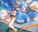 1girl animal_ears armpits bangs bare_arms bare_legs bare_shoulders barefoot bikini bloop_(gawr_gura) blue_bikini blue_eyes blue_hair blunt_bangs bracelet breasts cat_ears clouds cloudy_sky dice_hair_ornament fish_tail full_body gawr_gura grin hair_ornament highres holding hololive hololive_english jewelry jumping md5_mismatch medium_hair multicolored_hair nail_polish outdoors paint_splatter polearm ponytail pool resolution_mismatch shark_girl shark_print shark_tail sharp_teeth side-tie_bikini silver_hair sky small_breasts smile solo source_larger source_request stomach streaked_hair swimsuit tail teeth toenail_polish trident virtual_youtuber water_gun weapon