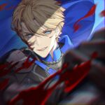 1boy bangs black_gloves blonde_hair blood blood_on_face blue_cape blue_eyes cape dimitri_alexandre_blaiddyd fire_emblem fire_emblem:_three_houses gloves hair_between_eyes highres holding holding_weapon looking_at_viewer male_focus parted_lips sevenaklausv short_hair smile solo tsurime upper_body weapon