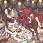 3boys apple arizuka_(catacombe) baguette basket black_gloves black_hair blanket bloodborne boots bread cheese cloak closed_eyes closed_mouth commentary_request cookie cup dark-skinned_male dark_skin doughnut fire flame flower food fork fruit gloves grapes hat head_wreath highres holding holding_cup holding_food holding_hands hunter_(bloodborne) jam jar knife lamp long_pants long_sleeves looking_at_another matchbox matches missing_tooth multiple_boys oedon_chapel_dweller open_mouth pants picnic pie_slice plate pot red_cloak sandwich saucer shirt sitting sleeves_rolled_up smile stone_floor strawberry suitcase tea teacup tile_floor tiles tricorne vest white_flower white_hair white_shirt yellow_eyes