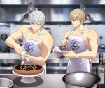 2boys apron blonde_hair chaldea_logo closed_mouth fate/grand_order fate_(series) food gareth_(fate) gawain_(fate) green_eyes grey_eyes grey_hair grey_pants hanging_light highres icing kitchen male_focus mixing_bowl multiple_boys muscular muscular_male pants pastry_bag pectorals percival_(fate) shirtless short_hair smile tart_(food) whisk whisking white_apron