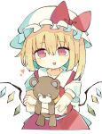 1girl ascot baron_(x5qgeh) blonde_hair bow colored_inner_hair crystal flandre_scarlet hair_between_eyes hat heart looking_at_viewer mob_cap multicolored_hair one_side_up open_mouth puffy_short_sleeves puffy_sleeves red_bow red_eyes red_skirt red_vest shirt short_hair short_sleeves side_ponytail skirt skirt_set solo stuffed_animal stuffed_toy teddy_bear touhou upper_body vest waist_bow white_background white_shirt wings