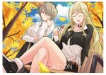 2girls :d absurdres arm_under_breasts bangs bench bianka_durandal_ataegina black_footwear blonde_hair blue_sky brown_hair candy casual closed_eyes closed_mouth clouds cloudy_sky crossed_legs food haerge hair_between_eyes hair_ornament hair_over_one_eye highres holding holding_food honkai_(series) honkai_impact_3rd lollipop long_hair long_sleeves looking_at_another multiple_girls open_mouth rita_rossweisse shirt shoes short_hair signpost sitting sky smile sneakers tree white_shirt