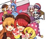6+girls animal_ears bangs beiebeid bench black_choker black_dress black_headwear black_neckwear black_sleeves blonde_hair blue_dress blue_shirt blue_sleeves blush bow brown_dress brown_headwear brown_sleeves bunny_tail chinese_clothes choker closed_eyes closed_mouth clownpiece copyright_name crescent doremy_sweet dress eyebrows_visible_through_hair food grey_jacket grey_sleeves hair_between_eyes hand_up hands_up hat hecatia_lapislazuli ice_cream jacket jester_cap junko_(touhou) kishin_sagume long_hair long_sleeves looking_at_another looking_at_viewer medium_hair multiple_girls no_hat no_headwear number open_clothes open_jacket open_mouth orange_bow orange_hair orange_neckwear orange_shirt pink_eyes pink_headwear polos_crown pom_pom_(clothes) purple_dress purple_hair rabbit_ears red_bow red_eyes red_headwear red_neckwear redhead ringo_(touhou) seiran_(touhou) shirt short_hair short_sleeves short_twintails shorts silver_hair single_wing sitting smile spoon standing star_(symbol) star_print t-shirt tail touhou twintails very_short_hair violet_eyes white_dress wings yellow_shorts