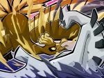 commentary eye_contact fangs fire gen_2_pokemon ho-oh legendary_pokemon limited_palette looking_at_another lugia no_humans oo_vis open_mouth pokemon pokemon_(creature) tongue water