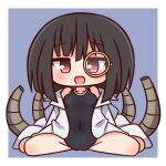 1girl :d bangs bare_shoulders black_hair black_lilith_(sentouin_hakenshimasu!) black_swimsuit blue_background blush breasts brown_eyes chibi collarbone commentary_request covered_navel eyebrows_visible_through_hair full_body hair_between_eyes hana_kazari highres labcoat looking_at_viewer monocle one-piece_swimsuit open_clothes open_mouth sentouin_hakenshimasu! sitting small_breasts smile solo swimsuit two-tone_background wariza white_background