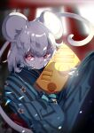 1girl 2020 alternate_costume animal_ears bangs blue_kimono cheek_squash chinese_zodiac commentary_request grey_hair highres holding japanese_clothes kimono long_sleeves maimuro medium_hair mouse_ears mouse_tail nazrin red_eyes solo striped striped_kimono tail touhou upper_body year_of_the_rat