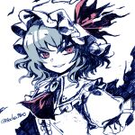 1girl ascot bat_wings brooch commentary_request grin hat hat_ribbon jewelry looking_at_viewer mob_cap red_eyes red_neckwear red_ribbon remilia_scarlet ribbon shirt short_sleeves simple_background smile socha solo touhou twitter_username upper_body white_background white_headwear white_shirt wings