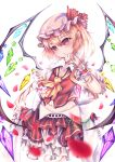 1girl absurdres blonde_hair crystal flandre_scarlet frills hat highres holding mob_cap nail_polish one_side_up red_eyes red_nails simple_background slit_pupils solo touhou white_background white_headwear wings wrist_cuffs