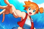 1girl :d artist_name bangs bare_arms commentary english_commentary eyelashes gen_1_pokemon green_eyes hair_tie looking_at_viewer misty_(pokemon) open_mouth orange_hair outstretched_arm pikachu pokemon pokemon_(creature) pokemon_(game) pokemon_lgpe pokey red_towel shiny shiny_hair short_hair side_ponytail smile spread_fingers tied_hair tongue towel towel_around_neck upper_teeth watermark