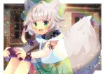 1girl :d ahoge animal_ear_fluff animal_ears bangs beret blurry blurry_background blush controller depth_of_field drawstring eyebrows_visible_through_hair feet_out_of_frame feyyosei frilled_skirt frills game_controller green_eyes green_headwear green_skirt grey_hair hat holding hood hood_down hoodie indie_virtual_youtuber knees_up kou_hiyoyo lens_flare long_sleeves looking_at_viewer open_mouth plaid pleated_skirt puffy_long_sleeves puffy_sleeves see-through see-through_sleeves skirt smile solo tail virtual_youtuber white_hoodie wolf_ears wolf_girl wolf_tail