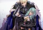 1boy 1girl amu_(nsk0) aqua_hair armor bangs black_eyepatch blonde_hair blue_cape breastplate byleth_(fire_emblem) byleth_(fire_emblem)_(female) cape closed_eyes closed_mouth cowboy_shot dimitri_alexandre_blaiddyd eyepatch fire_emblem fire_emblem:_three_houses fur_collar gauntlets hair_between_eyes hand_grab holding_another one_eye_covered short_hair simple_background white_background