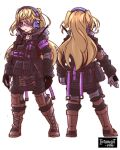 1girl alternate_costume backpack bag bangs bespectacled black_gloves blonde_hair boots bulletproof_vest chibi choker combat_boots eyebrows_visible_through_hair fischl_(genshin_impact) from_behind full_body genshin_impact glasses gloves green_eyes headset highres introvert-kun long_hair looking_at_viewer sidelocks simple_background solo tactical_clothes two_side_up