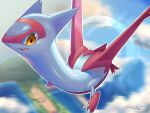 animal_focus artist_name blue_sky claws clouds commentary_request day dragon flying full_body gen_3_pokemon happy highres latias legendary_pokemon looking_down midair motion_blur no_humans open_mouth orange_eyes outdoors outline pokemon pokemon_(creature) rio_(user_nvgr5434) shiny shiny_skin sideways_mouth signature sky smile solo white_outline wings