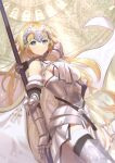 1girl armor armored_dress bangs bare_shoulders blonde_hair breasts chain dress fate/grand_order fate_(series) flag highres holding holding_flag jeanne_d'arc_(fate) jeanne_d'arc_(fate)_(all) kagayaku_(mottokrkr) long_hair looking_at_viewer smile solo thigh-highs very_long_hair weapon white_dress yellow_eyes