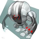 aqua_background artist_name commentary full_body gen_3_pokemon golem grey_theme highres legendary_pokemon metal no_humans pokemon pokemon_(creature) red_eyes registeel rio_(user_nvgr5434) shiny signature simple_background solo standing two-tone_background