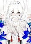 1girl blue_flower chromatic_aberration commentary_request covered_mouth flower hair_between_eyes highres long_hair looking_at_viewer maimuro original shirt solo tassel upper_body white_background white_hair white_shirt
