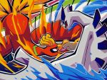 commentary eye_contact fangs fire gen_2_pokemon ho-oh legendary_pokemon looking_at_another lugia no_humans oo_vis open_mouth pokemon pokemon_(creature) red_eyes tongue water