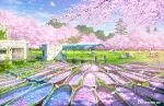 abandoned absurdres algae boat building cherry_blossoms commentary_request day highres huge_filesize lake no_humans original outdoors overgrown petals pier railing reflection ripples ruins scenery swan_boat tokyogenso tree water watercraft window