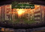 2014 artist_name building clouds commentary_request lamppost no_humans original outdoors overgrown photoshop_(medium) railing road ruins scenery sign signature station street sunset tokyogenso window