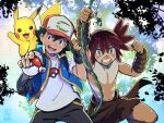 2boys :d ash_ketchum backpack bag bangs baseball_cap black_gloves black_hair blue_jacket bodypaint brown_eyes brown_hair clenched_hand commentary_request fingerless_gloves gen_1_pokemon gloves grin hair_between_eyes hat highres holding holding_poke_ball jacket koko_(pokemon) loincloth looking_at_viewer male_focus marufuji_hirotaka multiple_boys navel open_mouth outstretched_arm pikachu plant poke_ball pokemon pokemon_(anime) pokemon_(creature) pokemon_m23 shirt shirtless short_sleeves sleeveless sleeveless_jacket smile t-shirt teeth tongue upper_teeth vines white_shirt