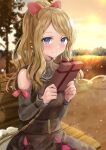 1girl bag bare_shoulders blonde_hair blurry blurry_background blush box brown_dress closed_mouth clothing_cutout commentary_request dress eyelashes fujimori_shiki gift gift_box hands_up highres holding holding_gift long_hair looking_at_viewer official_alternate_costume outdoors pokemon pokemon_(game) pokemon_masters_ex ponytail ribbon serena_(pokemon) shoulder_bag shoulder_cutout sidelocks sky smile solo tree valentine