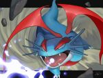 animal_focus artist_name black_eyes claws commentary_request dragon fangs full_body gen_3_pokemon glowing highres hyper_beam_(pokemon) letterboxed no_humans open_mouth outside_border pokemon pokemon_(creature) pokemon_move rio_(user_nvgr5434) rock salamence signature solo tongue wings