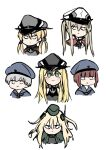 6+girls anchor_hair_ornament bismarck_(kancolle) blonde_hair blue_headwear brown_hair garrison_cap graf_zeppelin_(kancolle) green_eyes grey_headwear hair_ornament hat kantai_collection karin_bluez3 long_hair looking_at_viewer looking_to_the_side low_twintails multiple_girls peaked_cap prinz_eugen_(kancolle) short_hair silver_hair simple_background twintails u-511_(kancolle) upper_body white_background white_headwear z1_leberecht_maass_(kancolle) z3_max_schultz_(kancolle)