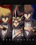 3boys alternate_costume bangs black_hair blonde_hair blue_eyes bow bowtie bright_pupils brown_eyes brown_hair buttons card commentary_request hair_between_eyes hand_up highres holding holding_card jacket jacket_on_shoulders jounouchi_katsuya kaiba_seto long_sleeves looking_at_viewer multicolored_hair multiple_boys redhead shirt soya_(sys_ygo) spiky_hair twitter_username white_pupils white_shirt yami_yuugi yu-gi-oh! yu-gi-oh!_duel_monsters