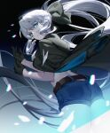1girl ass bangs black_bow blue_eyes bow braid breasts contemporary fate/grand_order fate_(series) feixiang_de_huojiren french_braid grey_hair hair_bow highres large_breasts long_hair looking_at_viewer looking_back morgan_le_fay_(fate) ponytail sidelocks solo thighs very_long_hair