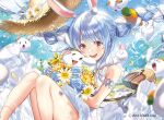 1girl :d alternate_costume animal_ear_fluff animal_ears bag bare_legs blue_sky blush bouquet braid breasts bunny-shaped_pupils carrot_hair_ornament clouds cloudy_sky commentary cowboy_shot day don-chan_(usada_pekora) dress eyebrows_visible_through_hair floating_hair floating_hat flower food-themed_hair_ornament hair_between_eyes hair_ornament handbag hat hat_flower hat_ribbon hikosan holding holding_bouquet hololive light_blue_hair long_hair looking_at_viewer multicolored_hair nousagi_(usada_pekora) official_art open_mouth outdoors petals pinafore_dress rabbit_ears ribbon sky sleeveless sleeveless_dress small_breasts smile solo straw_hat streaked_hair thick_eyebrows thighs twin_braids twintails two-tone_hair usada_pekora virtual_youtuber water_drop watermark white_dress white_hair